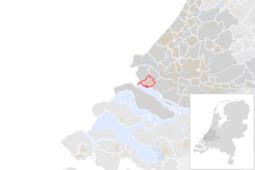 Locatie van de gemeente Hellevoetsluis (gemeentegrenzen CBS 2016)
