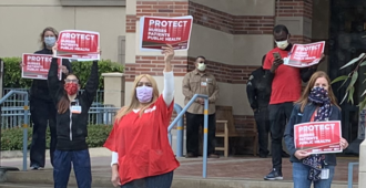 April 13: Protest by National Nurses United over lack of personal protective equipment at UCLA Medical Center NNU Protest UCLA Medical Center (crop).png