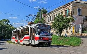 Trams in Nizhny Novgorod - UTM-7 tram at Oktyabrskaya Street