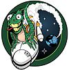 The NROL-61 logo/mission patch depicts a green lizard, Spike, riding an Atlas 5 launch vehicle. The stars represents the teams from various agencies who contributed to the project.