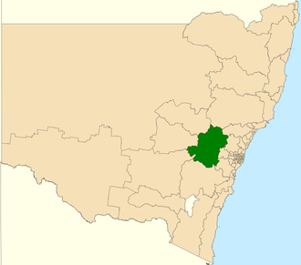 Electoral district of Bathurst - Location in New South Wales