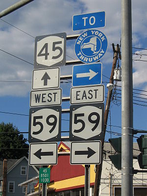 New York State Route 59 - NY 45 at NY 59 in Spring Valley. A mile to the east, NY 59 intersects the Thruway.