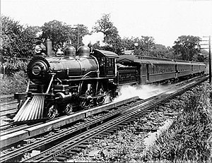 Track pan - New York Central Railroad's Empire State Express takes on water from the track pan at Palatine, New York, in 1905