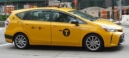 Yellow medallion taxicabs are widely recognized icons of the city NYC Toyota Prius v.jpg