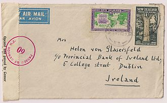 TEAL - July 1940 New Zealand airmail censored cover paid 1/6 to Dublin, Ireland, flown from Auckland to Sydney by Tasman Empire Airways service that started on 30 April 1940, and then flown on the Horseshoe route to Durban, South Africa and then by boat to the UK for forwarding to Dublin