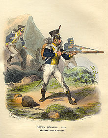 Colored print of a soldier pointing a musket. He wears a dark blue coat with yellow front and cuffs, white breeches and black gaiters. The caption states Legion Polonaise and Regiment de la Vistule.