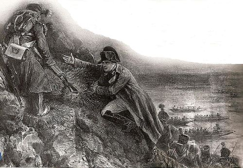 Napoleon supervised the landing operations closely. Napoleon at Lobau.jpg