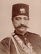 Naser al-Din Shah Qajar, close up, with slight smile by Nadar.jpg