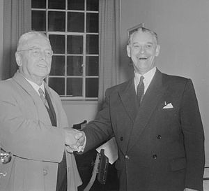 New Zealand general election, 1957 - Holyoake (right) congratulating Nash (left) on Labour's victory.