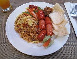 Nasi goreng - Image: Nasi Goreng Sosis Breakfast Savoy Homann Hotel