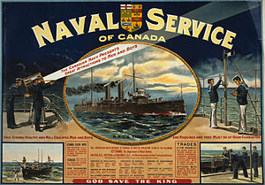 History of the Royal Canadian Navy - Recruiting poster featuring HMCS Rainbow