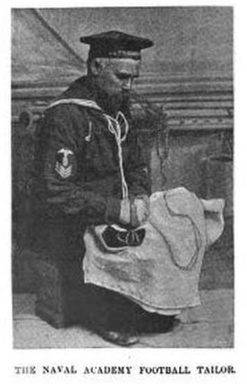 Navy Football Tailor sewing uniform