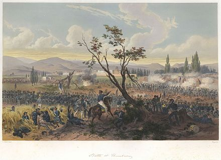 The Battle of Churubusco, during the Mexican-American War, 20 August 1847 Nebel Mexican War 07 Battle of Churubusco.jpg