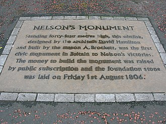 David Hamilton (architect) - Image: Nelson Monument commemorative slab