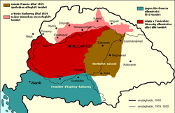 Map of territory of the former Kingdom of Hungary, May–August 1919    Controlled by Romania in April 1919   Controlled by the Soviet Republic of Hungary   Subsequently controlled by Soviet Republic of Hungary to establish the Slovak Soviet Republic   Controlled by France and Yugoslav countries   Borders of Hungary in 1918   Borders of Hungary in 1920