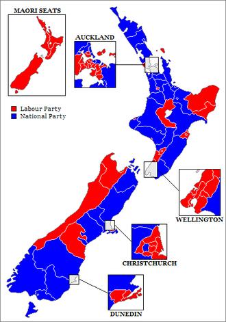 New Zealand general election, 1987 - Image: New Zealand Electorates 1987