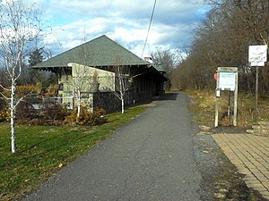 New Paltz (village), New York - The former station, La Stazione, as viewed from the Wallkill Valley Rail Trail