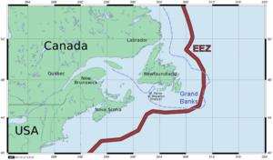 Turbot War - Image: Newfoundland Grand Banks and EEZ border