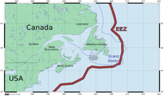Comprehensive Economic and Trade Agreement - Image: Newfoundland Grand Banks and EEZ border