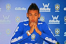 Neymar wikipedia neymar at a press conference for brazil stopboris Gallery