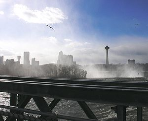 Niagara Falls, Ontario - Skyline of Niagara Falls, Canada, as seen from Niagara Falls State Park across the river in the United States