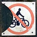 No cycling sign, Denny Lodge Inclosure, New Forest - geograph.org.uk - 510043.jpg