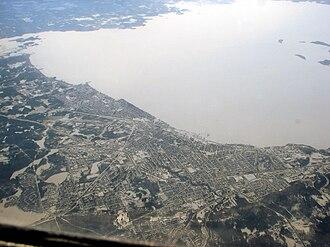 Lake Nipissing - Aerial view of Lake Nipissing and North Bay