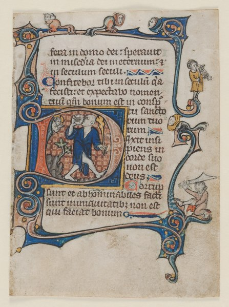 File:Northern France or Flanders, St. Omer or Thèrouanne, 14th century - Leaf from a Psalter- Initial D- A Fool Rebuked by God - 2011.55 - Cleveland Museum of Art.tif