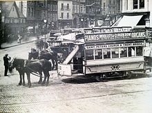 Nottingham Horse Tram outside St. Peter's Church.JPG