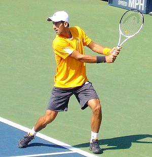 Backhand - Novak Djokovic in a backhand motion at the 2009 US Open