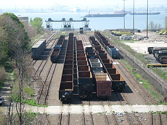 New York New Jersey Rail - The 65th Street Yard in Brooklyn, refurbished in 1999 by the city of New York. The refurbished yard was placed in service for car floats in July 2012.