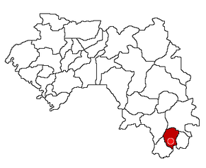 Location of Nzérékoré Prefecture and seat in Guinea.