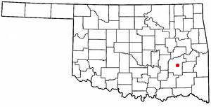 Krebs, Oklahoma - Image: OK Map doton Krebs