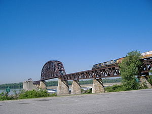 Fourteenth Street Bridge (Ohio River) - The Fourteenth Street Bridge, as viewed from the Clarksville waterfront