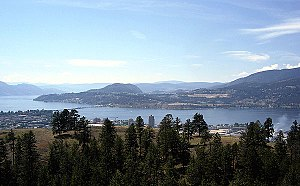 Okanagan Lake - Okanagan Lake winds between Kelowna (foreground) and Westbank (background).