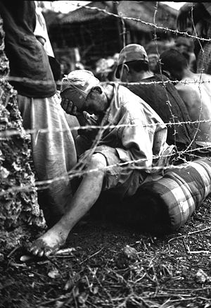 Japanese prisoners of war in World War II - A group of Japanese captured during the Battle of Okinawa.