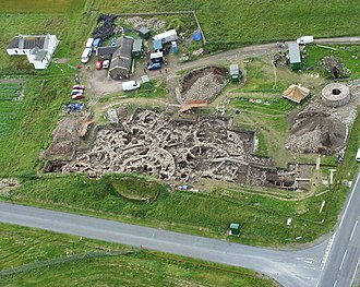 Old Scatness - Aerial view of the archaeological dig