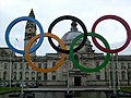 Olympic Rings Cardiff City Hall (6995328142).jpg