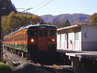 Agatsuma Line - An 115 series EMU at Ōmae Station, November 2006