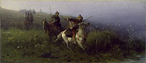 Reconnaissance - Tatar horsemen in the painting On Reconnaissance by Józef Brandt, 1876