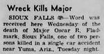 Oscar Randolph Fladmark, Jr. (1922-1955) in Wreck Kills Major in the Deadwood Pioneer-Times of Deadwood, South Dakota on July 28, 1955.png
