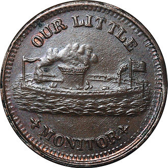 Two-cent piece (United States) - Cent-sized Civil War token, issued privately as all federal coinage was hoarded