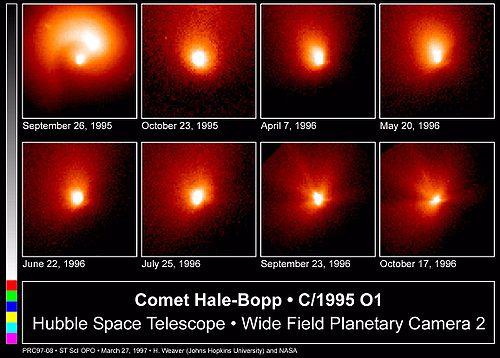 A evolução do cometa Hale-Bopp captada pelo Telescópio Espacial Hubble, enquanto se aproximava do periélio