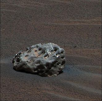 Opportunity (rover) - Heat Shield Rock turned out to be the first meteorite discovered on Mars