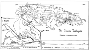 1907 Kingston earthquake - Image: PSM V70 D390 Map of the jamaica earthquake