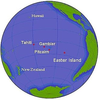 Outline of the Pitcairn Islands - Image: Pacific Ocean Pitcairn Island on globe view English