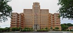 A brick-clad Art Deco-style building