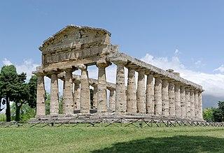 building in Paestum, Italy
