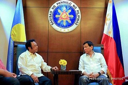 President Remengesau with Philippine President Rodrigo Duterte in 2018. Palau Pres Thomas Remengesau with PH President Rodrigo Duterte.jpg