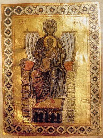 "Immaculate Conception - An 11th-century Eastern Orthodox icon of the Theotokos Panachranta, i.e., the ""all immaculate"" Mary"